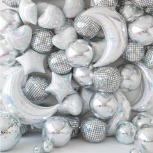 Disco Bar Ball 4D Dance Party Decoration Silver Mylar Balloons Hip Hop Party Bash Decor Big Balloon 70s 90s Theme Space Party