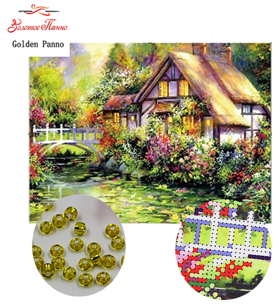 Golden Panno,Needlework,DIY,beads,Cross stitch,Embroidery stitch,Precise Printed painting,scenic Pattern,Outside the world