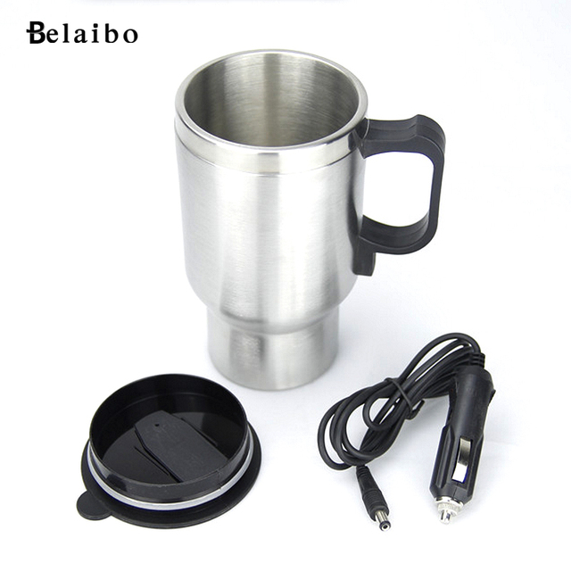 Double stainless steel electric car 12V car plug USB charging cup double steel electric cup car insulation Cup
