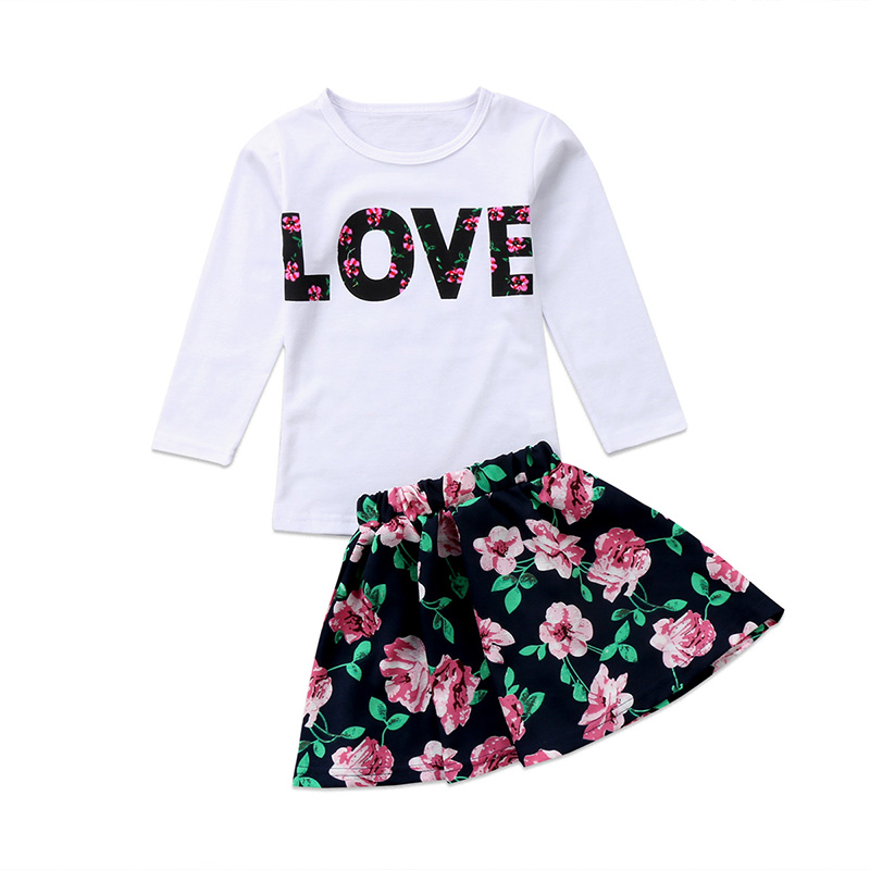 2PCS Girls Clothes Summer T-shirt Tops+Pants Skirts Outfits Toddler Dress 2-7Y