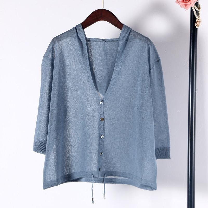 Shuchan Hooded Cardigans Women Linen 2019 Summer Casual Computer Knitted Sweater Women 3/4 Sleeve High Quality Tops Cddm-622