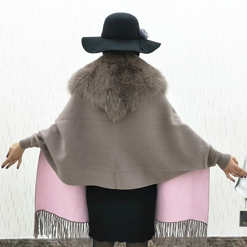 Renard gris Et En Coréenne Veste Lf929 Herbe Châle Tops Cuir Femme Rouge Fourrure Automne Manteau Mode brown D'hiver De Correspondant Couleur 2018 Sauvage Nouvelle Tout BWredCxo
