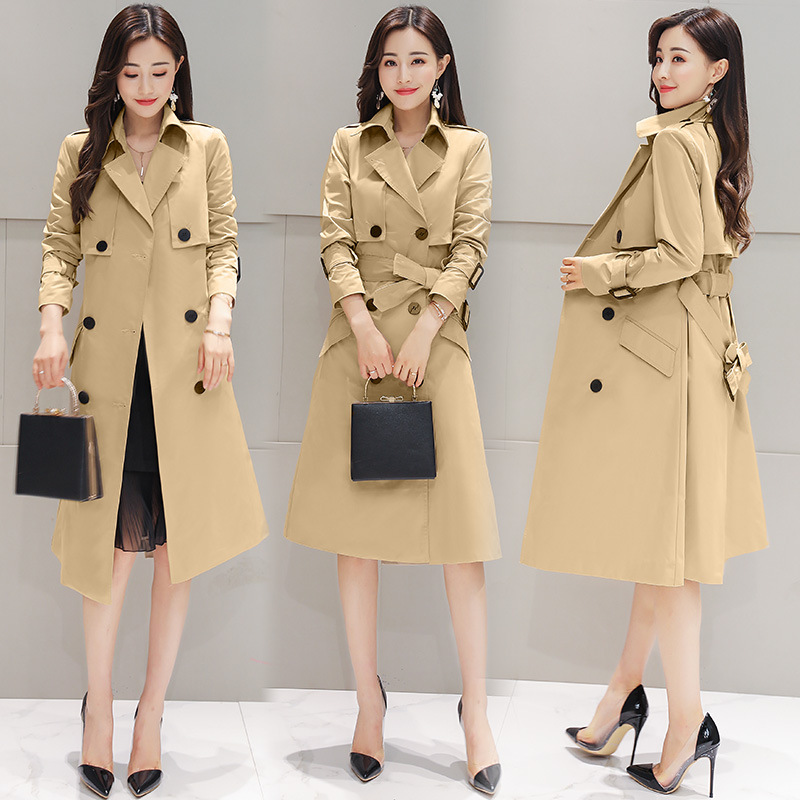 Trench Coat For Women Double Breasted Slim Fit Long Spring Coat Casaco Feminino Abrigos Mujer Autumn Outerwear Long Trench Coat plus size women cotton clothing 2017new irregular coats jacket thicker casaco feminino fashion top outerwear abrigos mujer 1044