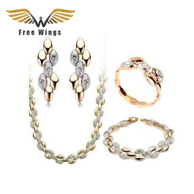 Banhado A ouro de Strass Cristal Austríaco Brinco Colares Pulseiras Anéis Conjuntos de Jóias de Casamento de Noiva Moda Feminina ABC