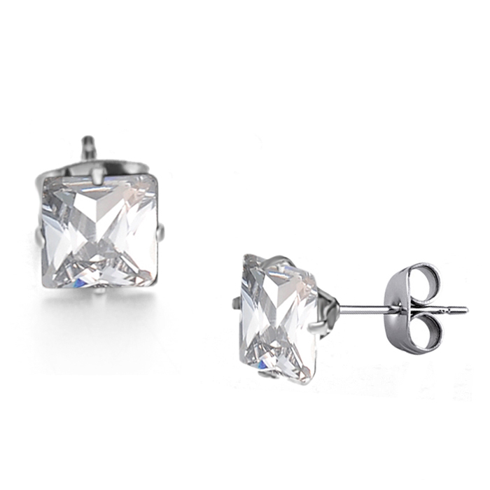 Free Shipping Generous Jewelry 1 5g 316l Stainless Steel Stud Earrings For Women Use White Import Crystal Shiny And Beauty In From