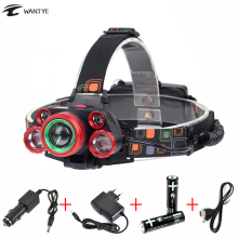 Zoom Head lamp 15000lm High power LED Head torch XML T6 +4R5 Rechargeable headlight 5 led Headlamp 4 Modes use 18650 battery camelion led5137 фонарь титан led xml t6 zoom 5 реж 3xlr03 в компл алюм откр блистер