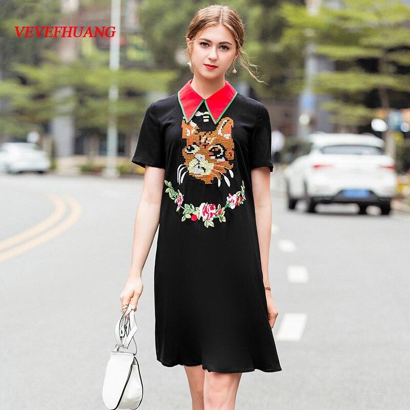 VEVEFHUANG 2018 été mode européenne femmes col rabattu manches courtes nouvelle fleur broderie lâche petite robe noire