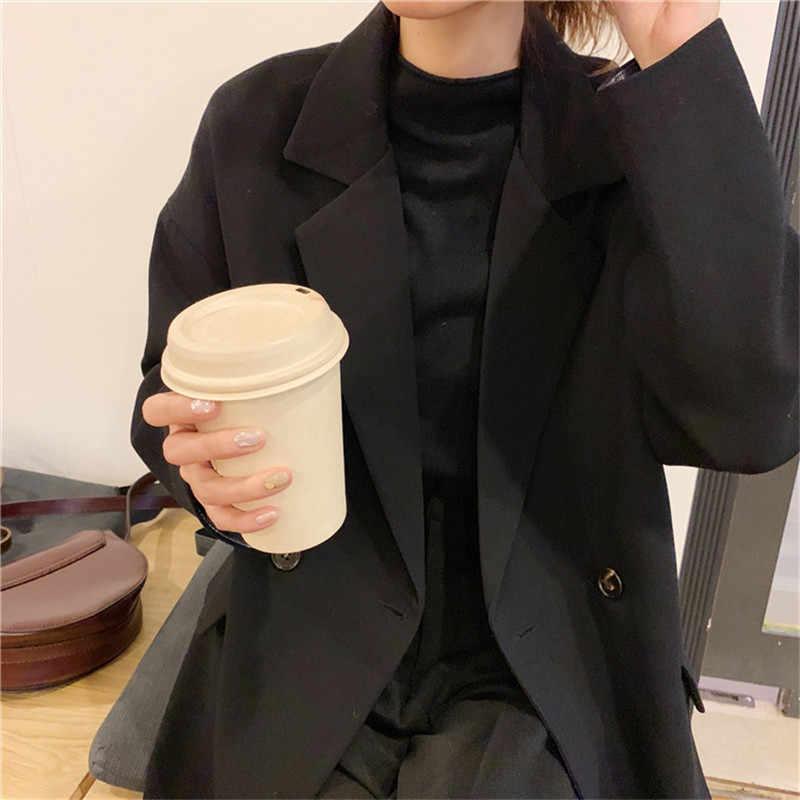 Новинка 2019 года, весенне-осенние женские блейзеры, повседневные топы, свободная куртка с длинными рукавами, студенческий жакет, костюм в винтажном стиле, блейзеры, A2621