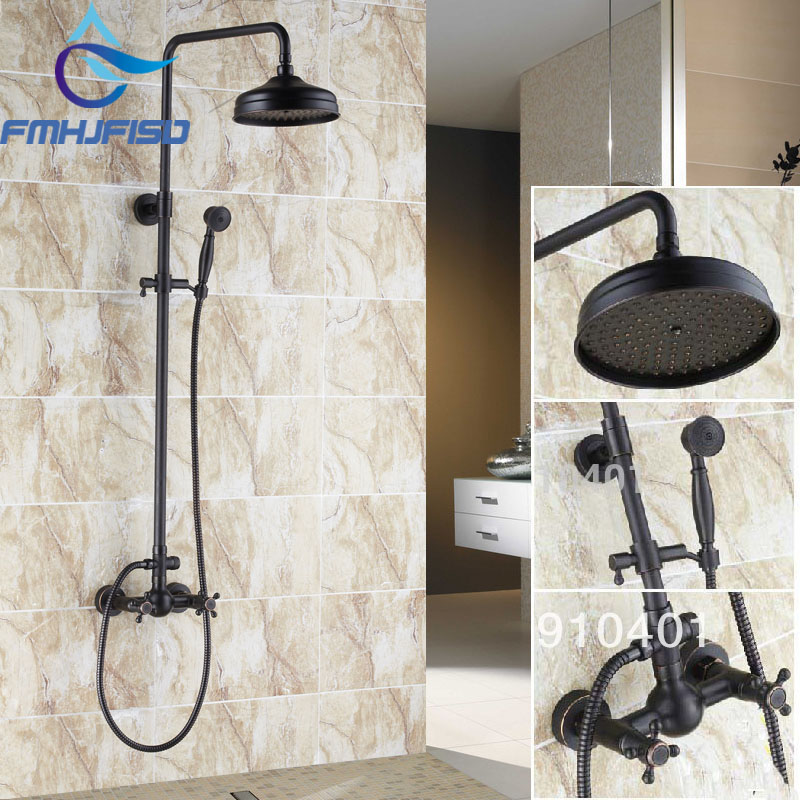 Free shipping Wholesale And Retail Promotion Wall Mounted Oil Rubbed Bronze 8 Rain Shower Head Shower Valve Hand Shower Set