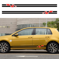 for Volkswagen Golf 2016 on customize car decal 2PC cool racing side body gradient stripe graphic Vinyl proctect scratch sticker