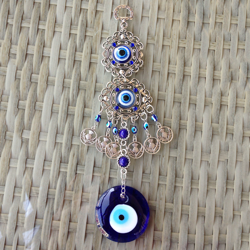 US $14 9 |Aqumotic Large Evil Eye Wall Hanging Decor Turkish Blue Eyes  Metal Wind Chimes Keep Good Luck Wealth Happiness Protection-in Wind Chimes  &