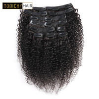 Morichy Brazilian Hair Kinky Curly Clip In Human Hair Extensions Natural Color 10 22inch 10 Pieces/Set Full Head Sets 120G