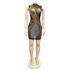 Image 4 - Gợi Cảm Dạ Hội Câu Lạc Bộ Pha Lê Kim Cương Sheer Lưới Bodycon Đầm Nữ Sumdress Casual Dây Không Tay Mini Mùa Hè Vestidos