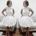 2016 rendas branco vestidos de formatura Halter festa curto vestido de festa vestidos especial ocasião vestido de formatura