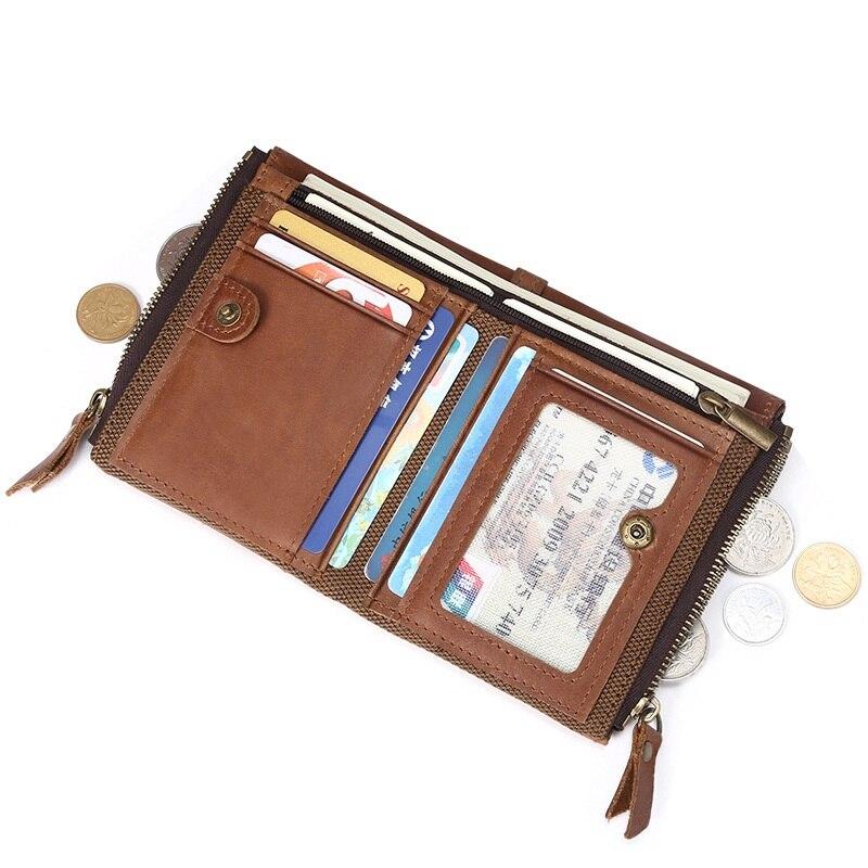 Weduoduo Men Wallet 100% Genuine Leather Short Double Zipper Casual Purse Standard Holders Wallets