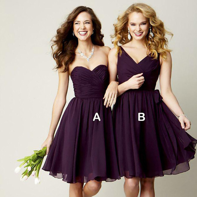 New Grape Purple Short Dark Bridesmaid Dresses 2016 Knee Length Chiffon Group
