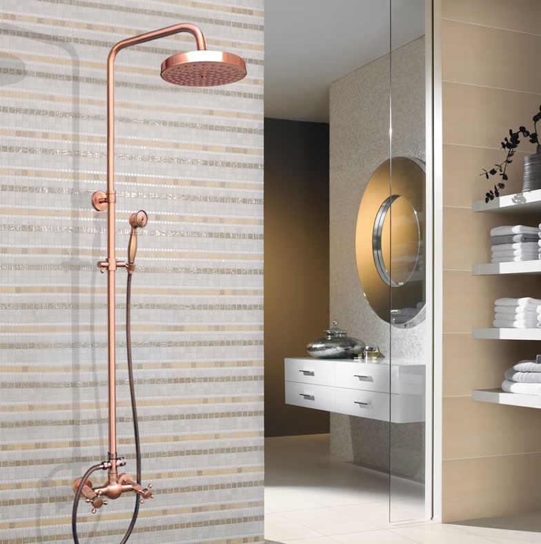 """Antique Red miedź mosiądz podwójny krzyż uchwyty łazienka 8 """"okrągły deszczownica głowica prysznicowa kran zestaw do kąpieli bateria z kranu do montażu na ścianie mrg522"""