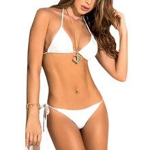 Women Bikini Triangle Thong Solid Color