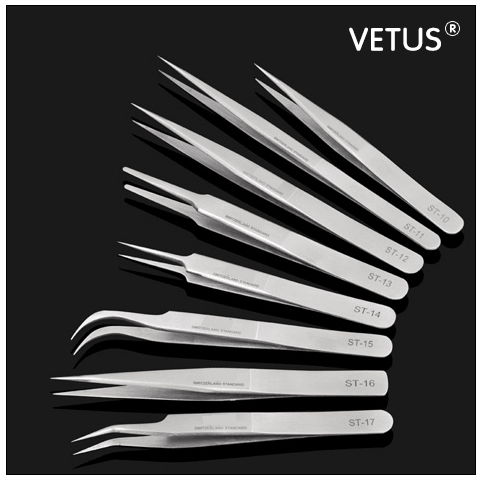 VETUS  Individual Eyelash Extension Tweezers for grafting eyelashes Natural Mink Eyelashes Lashes Tweezer Lash Pincet Makeup free shipping new product 5 tray 4 colors individual lash extension silk colorful eyelash extension fashion false eyelashes