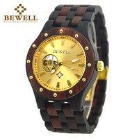 BEWELL Топ люксовый бренд Механические Мужские наручные часы винтажные Античные деревянные дизайнерские водонепроницаемые часы Reloj Hombre для м...
