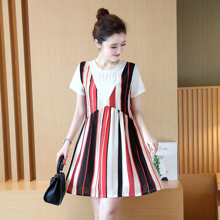 Maternity dress summer summer 2017 summer new fashion tide mothers dresses large size loose stripes pregnant women skirt