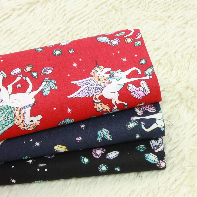 half yard thin cotton fabric with cartoon unicorn print ...