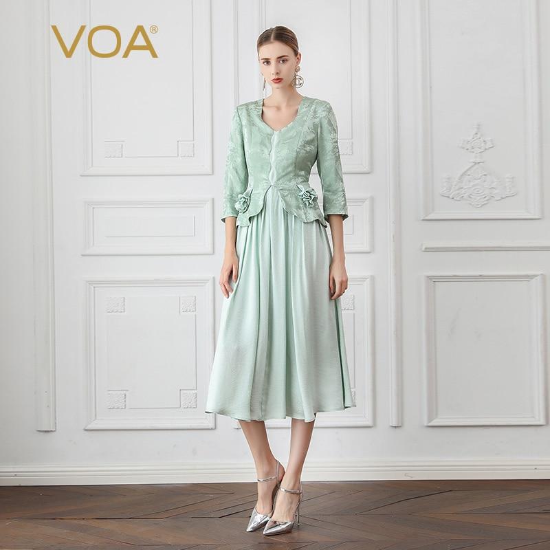 VOA Sweet Mori Girl Jurk 3D Printed Fake Two Piece Dress A10003