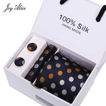 3inch (7.5 Cm) Wide Business Office Mens Wedding Arrow Colorful Dot Jacquard Men Tie Handkerchief& Cufflinks Gift Box Packaging
