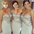 New Arrival 2017 Sheath Sweetheart Silver Satin Appliques Sash Long Bridesmaid Dresses Wedding Party Dresses