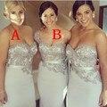 Nueva Llegada 2017 Amor de La Envoltura de Plata Satinado Apliques Sash Largos Vestidos de dama de Honor Vestidos de Novia Partido