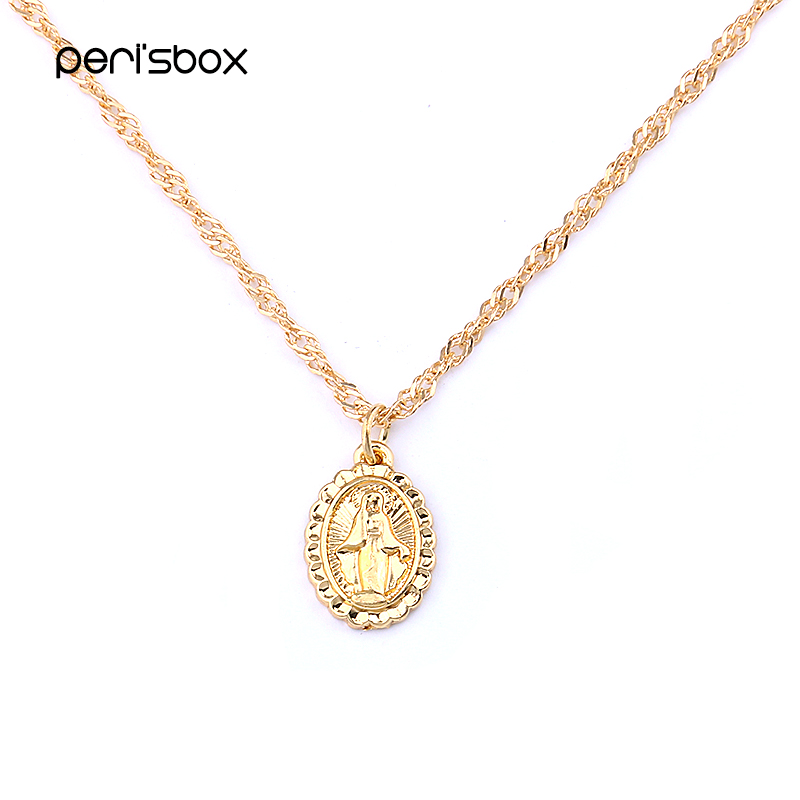 Peri'sbox Statement Virgin Mary Pendant Chokers Necklace Simple Oval Coin Portrait Necklace Dainty Layering Choker Necklaces