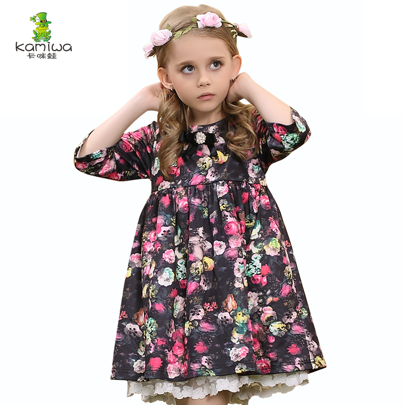 KAMIWA 2017 Floral Print Lace Princess Party Toddler Flower Baby Girls Dresses Summer Knee-length Children Clothing Kids Clothes summer kids girls baby o neck sleeveless dress 3 8t children flower floral appliques letter clothing toddler princess clothes