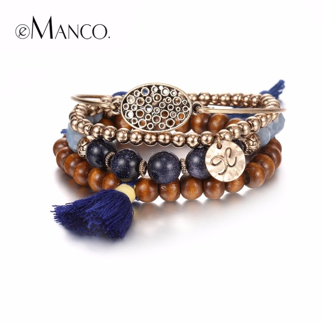 eManco Vintage Tassel Hand Braided Bracelets & Bangles for Women Wood Alloy Beads Ancient Gold Plated Jewelry Accessories