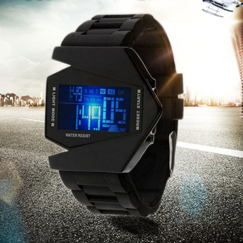 Luxfacigoo Boy Girl LED Digital Watch Cartoon Aircraft Shape Jelly Silicon Band Electronic Wristwatch For Children TT@88
