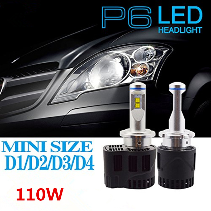 2Pcs D1/D2/D3/D4 D2S D2R D2C D4 Car Auto Truck LED Headlight Conversion Kit 110W 10400lm 6000K White Led Headlight Kit Bulbs d