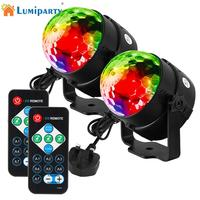 LumiParty 2PCS 7 Colors Sound Actived Crystal Magic Stage Light RGB Party Lamp Disco Ball Light