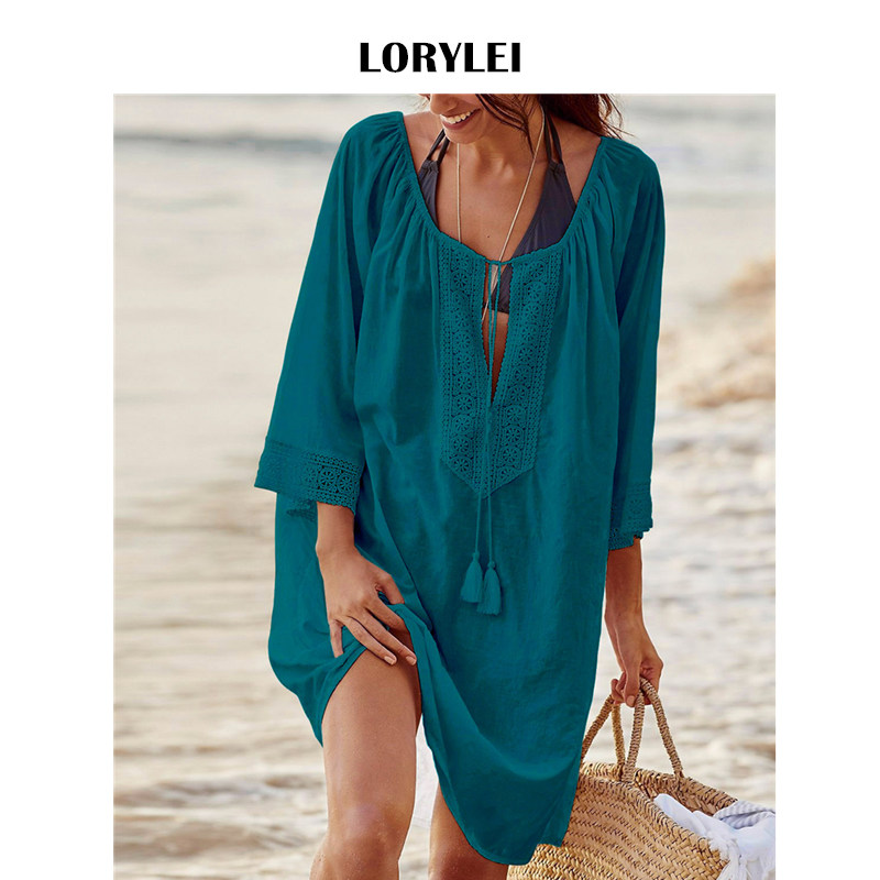ca49267b3 Plus Size Women Summer Beachwear Swimsuit Cover Up Beach Tunic Cotton Solid  Blue Deep V Neck