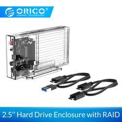 ORICO 2,5 дюймовый корпус жесткого диска с RAID PM 0 1 SPAN прозрачный внешний SSD Box SATA3.0 HDD чехол для Windows/Mac/Linux