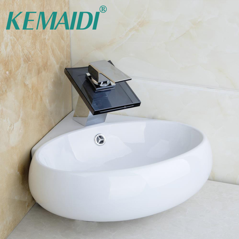 KEMAIDI Bathroom Ceramic Basin Sink Faucet Set bacia set torneira pia High Quality Wash Basin Vanity & Waterall Tap With Drain