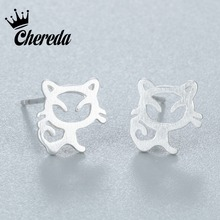 hot deal buy chereda attractive cat earrings 2018 fashion beautiful 1pair stud small smile hollow cat animal high-grade fine earrings