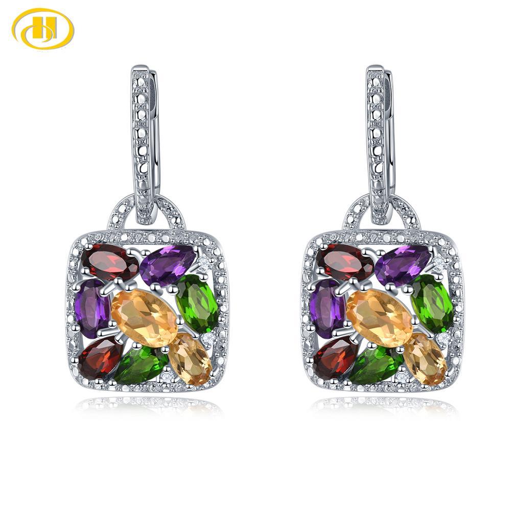 Hutang Multi Gemstone Hoop Earrings Natural Citrine Garnet Amethyst Solid 925 Sterling Silver Fine Elegant Jewelry