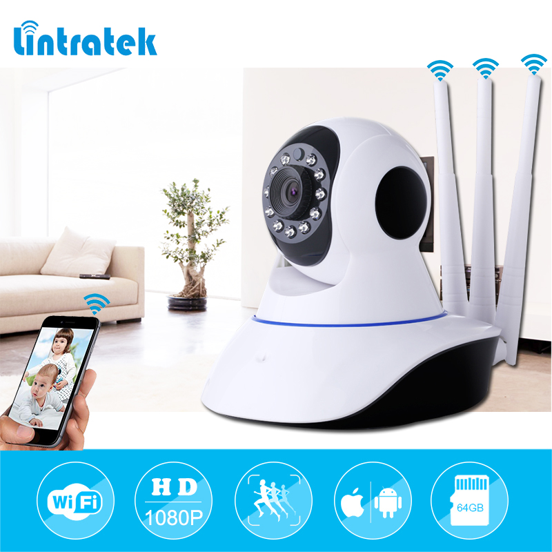 Lintratek tres antenas seguridad cámara HD 1080 P HD Video vigilancia IP de la cámara mini cámara WIFI CCTV Cámara Wi-Fi casa de seguridad IP cam
