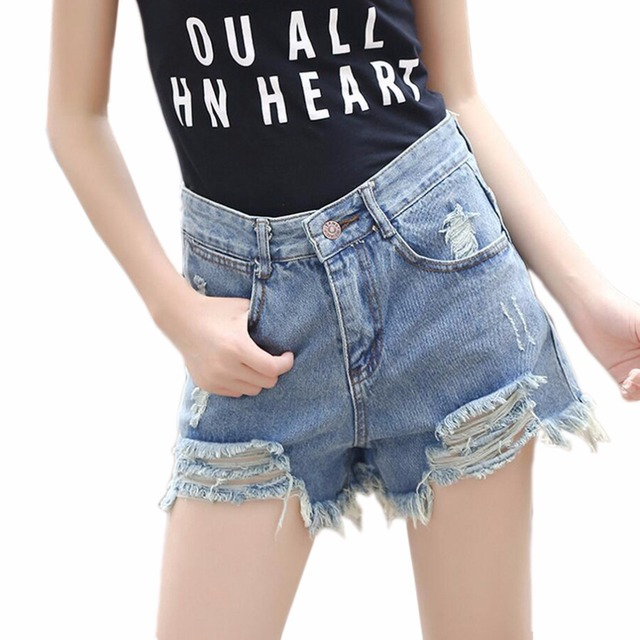 Summer Fashion Holes Fringed Women High Waist Denim Shorts Casual Shorts Female