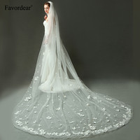 0ed8a6325d Favordear Top Quality Long Bridal Veil 4m Cathedral Wedding Veil 3D Flower  Butterfly Decoration Luxury Bridal