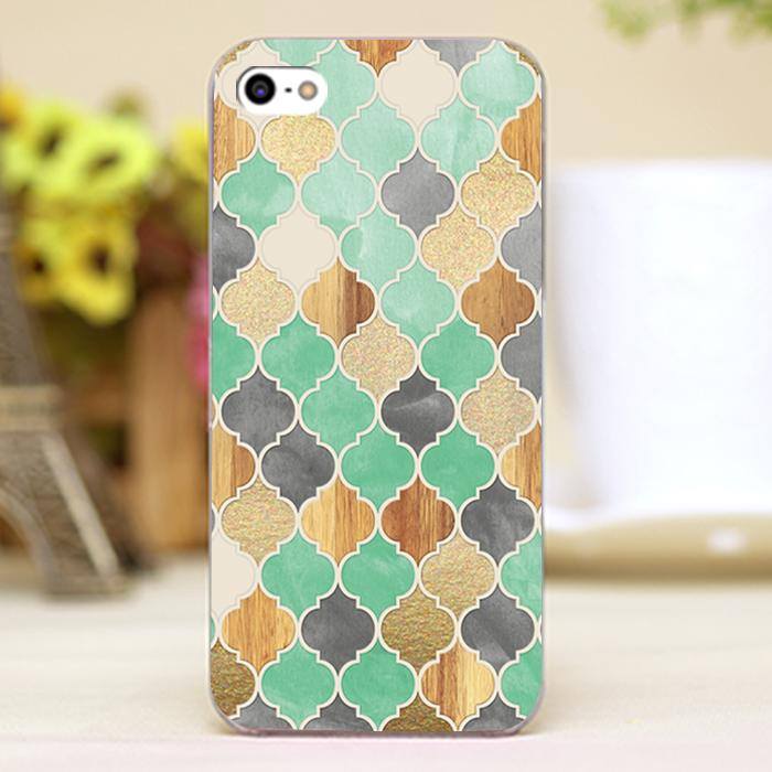 Charcoal, Mint, Wood & Gold Moroccan Pattern Design case cover cell mobile phone cases for iphone 6 6plus hard shell