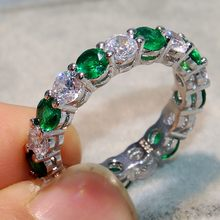 Brand New Luxury 925 Silver Green Zircon Rings For Women Fashion Engagement Female Ring Wedding Office Jewelry Mother's Gift(China)
