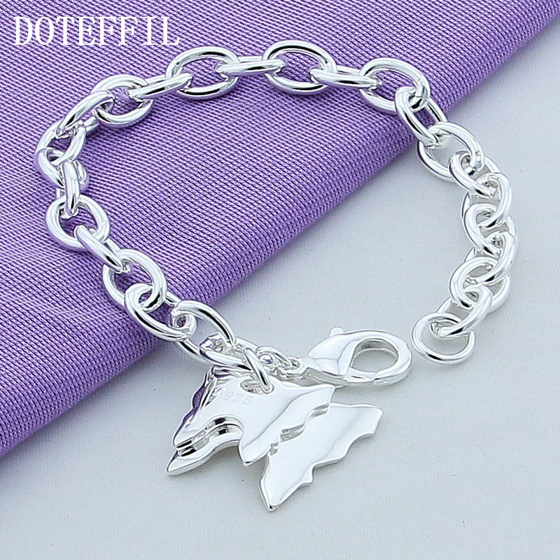 Rare Charm Double Butterfly Bracelets For Women Bangle Cuff 925 Stamped Silver Plated Brand Fine Jewelry
