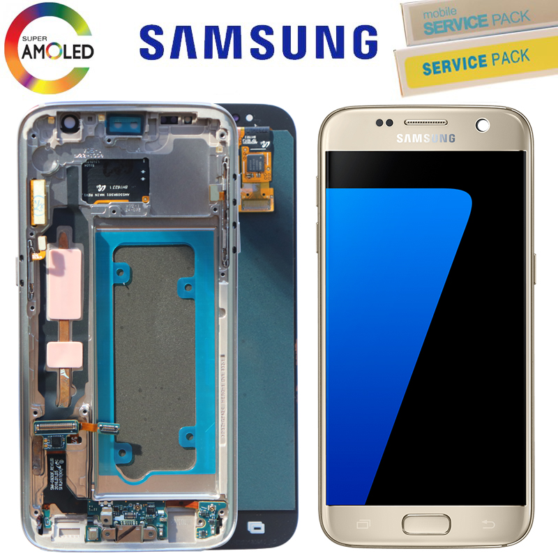 US $87 1 20% OFF|5 1'' Black Sliver Gold ORIGINAL LCD Display for SAMSUNG  Galaxy S7 SM G930F Touch Screen Digitizer Assembly with Frame -in Mobile