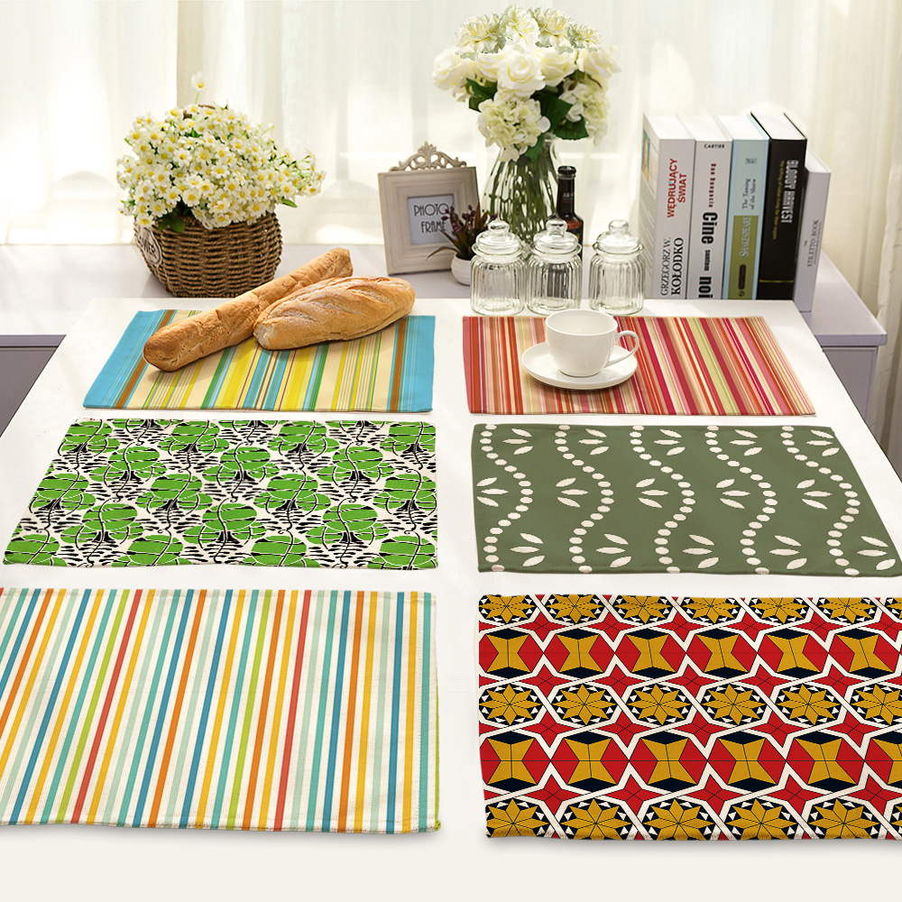 CAMMITEVER 2pcs/set Europe Style Stripes Waves Dining Table Mat Fabric Pads Bowl Pad Coasters Table Cloth Pad Slip-resistant Pad