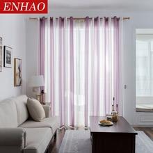 ENHAO Современные тюлевые шторы в простом стиле в полоску для гостиной, спальни, кухни, льняная оконная сплошная штора из вуали на окна, тюль